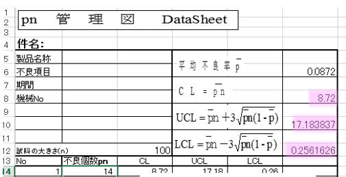 エクセル pn管理図,管理線自動計算