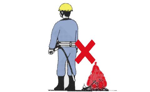 ロープ火気注意
