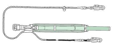 胴ベルト型安全帯(1本つり・U字つり兼用)+1本つり・U字つり兼用ランヤード(補助フック付)