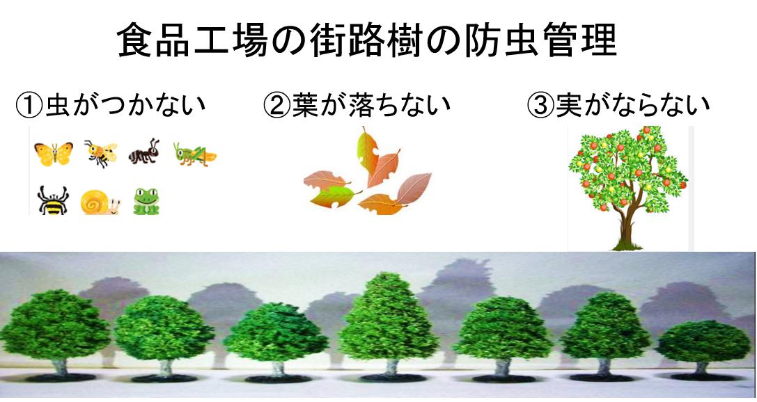 食品工場の街路樹の防虫管理